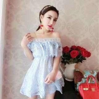 正韓版平口水鑽蕾絲上衣