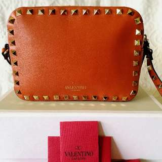 Stunning Valentino Crossbody Camera Bag studded orange leather