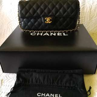 Authentic Chanel East West Caviar Leather Bag Medium Black Gold 22k