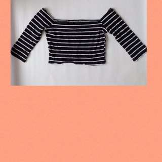 CHARLOTTE RUSSE Off-Shouldered Striped Cropped Top