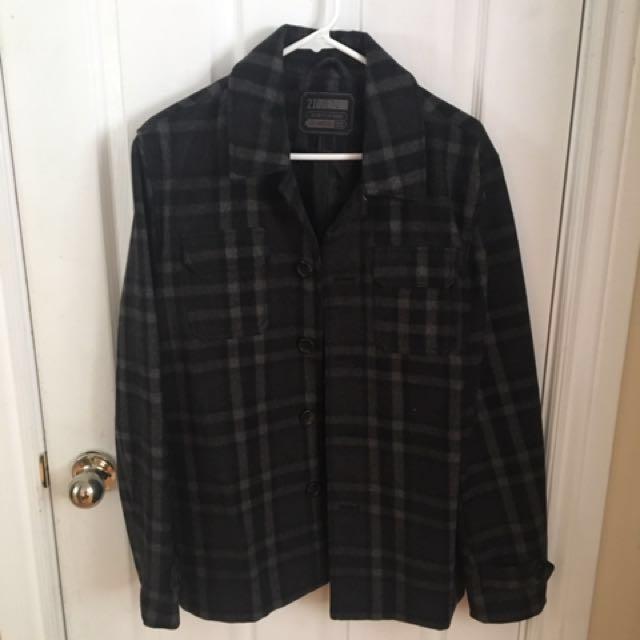21 Men Plaid Overshirt/Peacoat - DARK GREY Sz. S