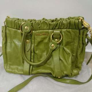 🚚 Authentic Rare Green Colour Miu Miu Gathered Genuine Leather Bag With Gold Details & Shoulder Strap
