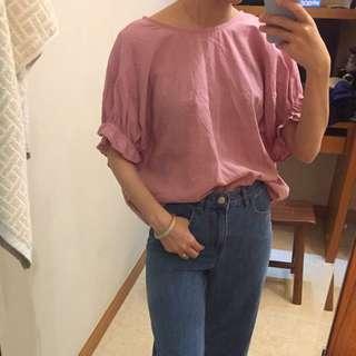 正韓 後綁帶 粉色 棉麻 上衣
