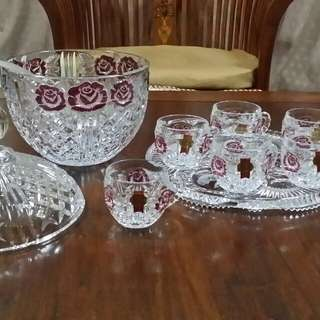 💥Imported - ANNA HUTTE BLEIKRISTALL Punch Bowl Set