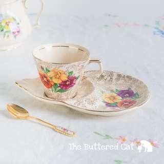 Vintage English ceramic tennis tea set, pretty pansies on gold chintz