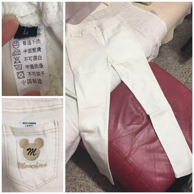 白色鬆緊長褲