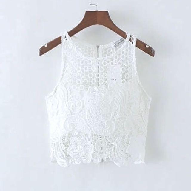 全新歐美時尚韓風氣質甜美性感波西米亞異國風花朵蕾絲透視鏤空短板白色背心