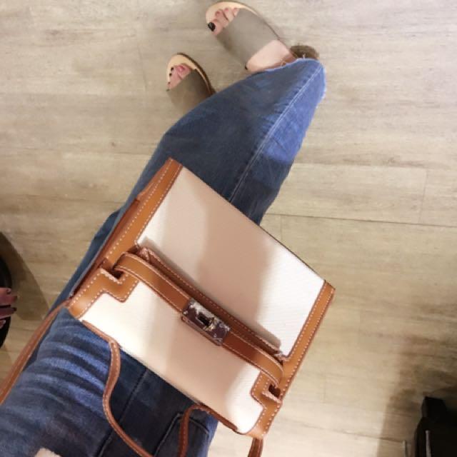 (全新/含運)皮革拼帆布包