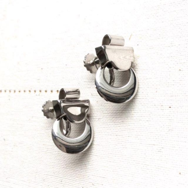 美國古董簡約素銀色抽象幾何造型栓鎖耳環