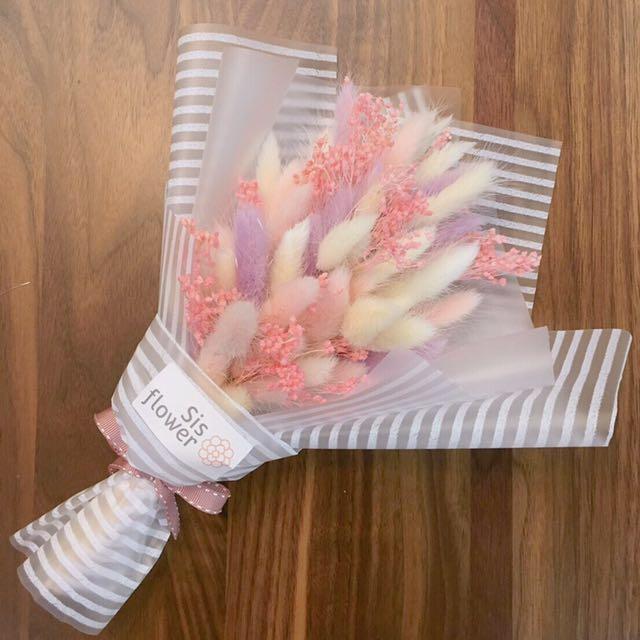 情人節手綁乾燥花束-可愛兔尾💐