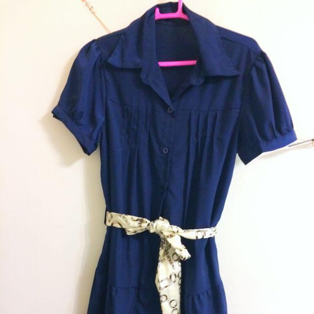 藏青抓皺洋裝  深藍 短袖 裙子 公主袖