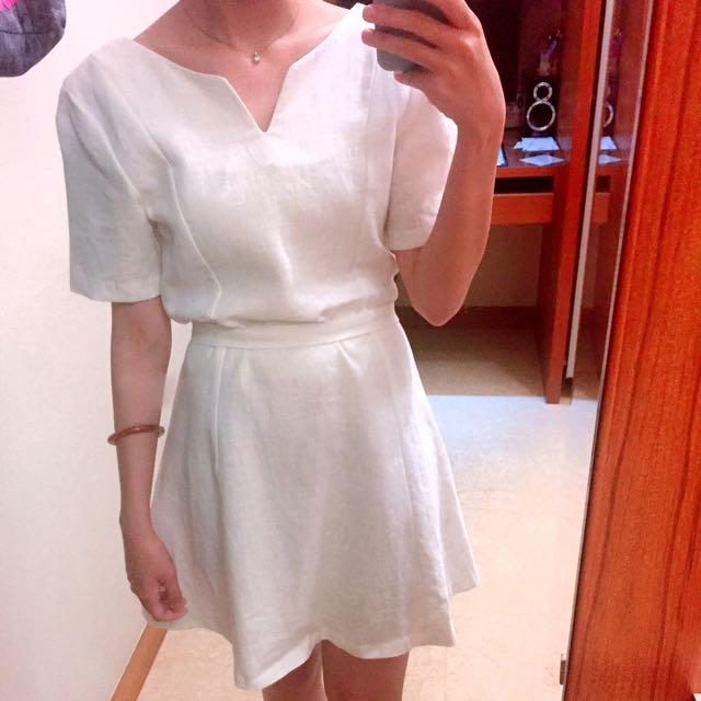 正韓 高質感 白色棉麻洋裝