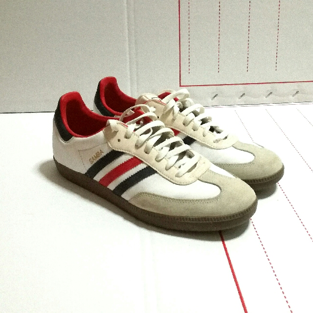 look out for wholesale online best service Adidas Samba Classic Suede Trainers White Red Blue (US 10.5 ...