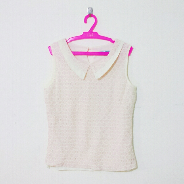 Baby Pink Collared Top From Korea