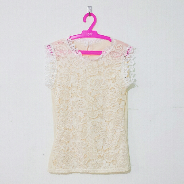 Beige Sleeveless Lace Top
