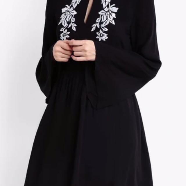 Zalora! Black Embroidered Dress