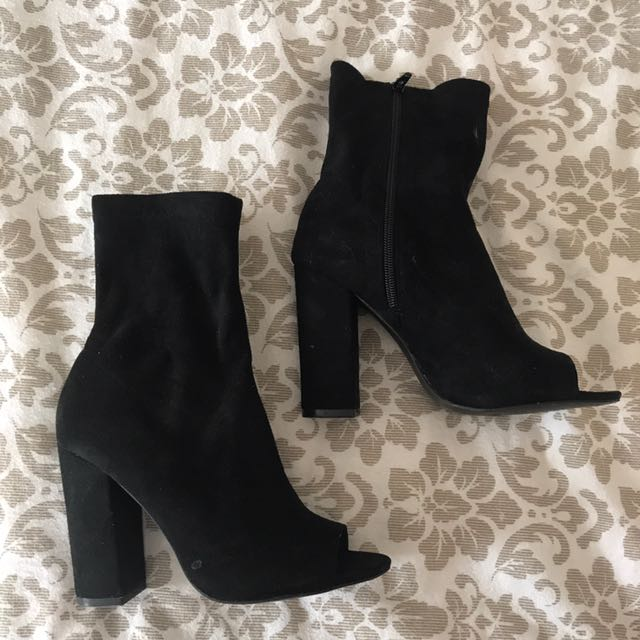 Black Suede Peep Toe Sock Boots