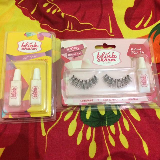 Blink charm false lashes natural flare #4 & lash glue