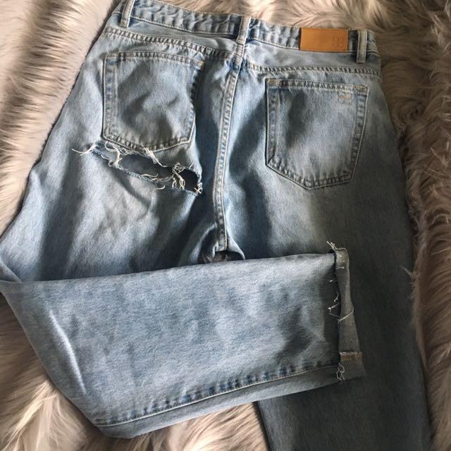 Butt rip jeans (Insight denim: Tina tapered mom jeans)