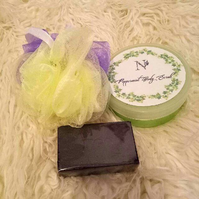 Charcoal Soap, Peppermint Scrub, Net Scrubber