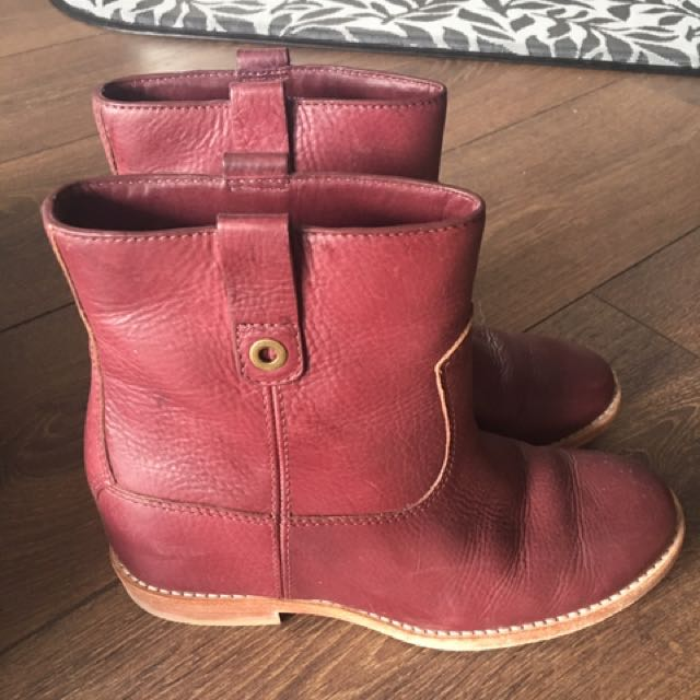 Cole Haan Zillie Boot Maroon Leather Size 6.5