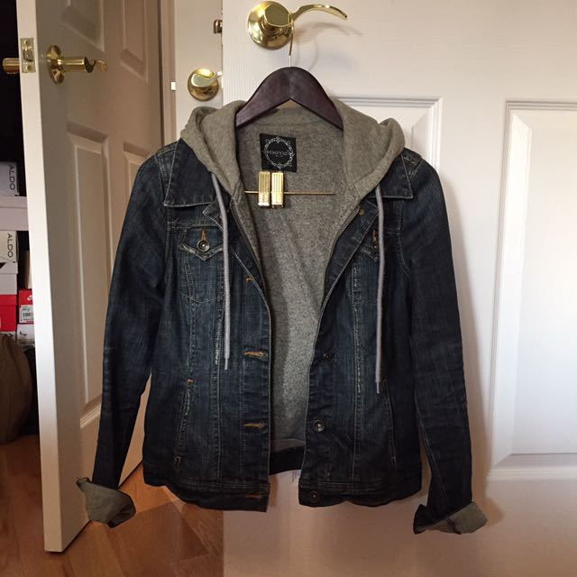 denim jacket with hoodie insert (S)