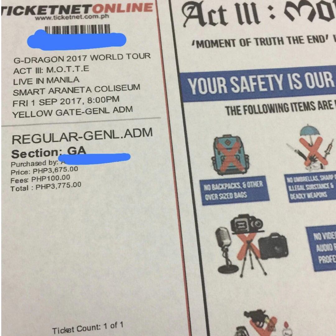 DISCOUNTED G Dragon ACT III: MOTTE Concert TICKET (GA)