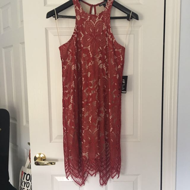 Express red lace sleeveless dress