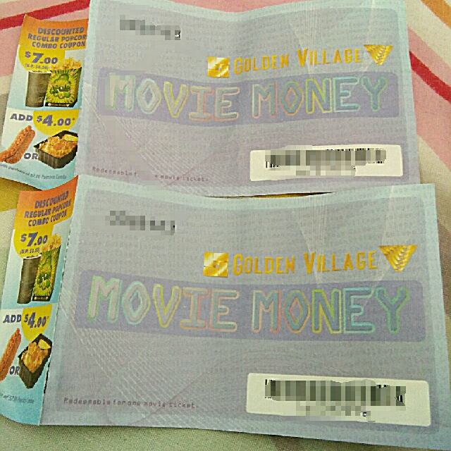 (In Need For Money Pls Quickly Buy)Golden Village Free Entry Ticket To Any  Movie