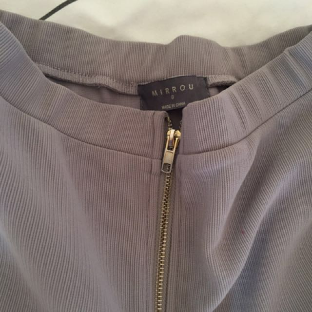 Grey With Gold Zip pencil skirt
