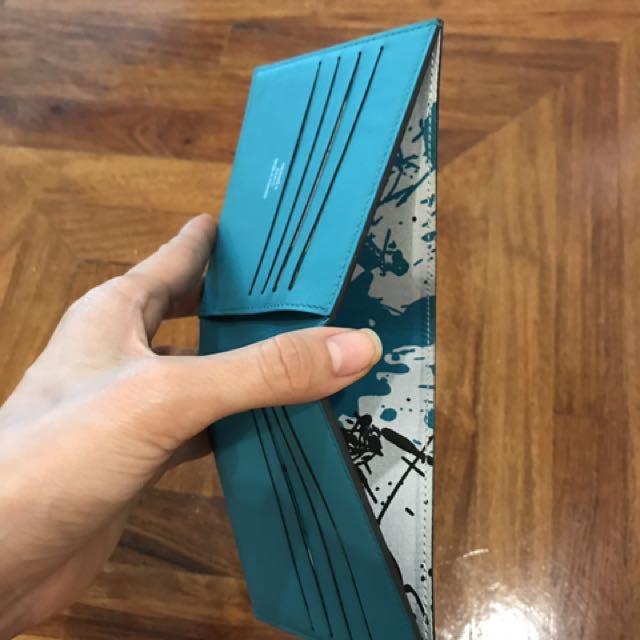 Hermes Citizen Twill compact wallet - Bleu Paon, silk in