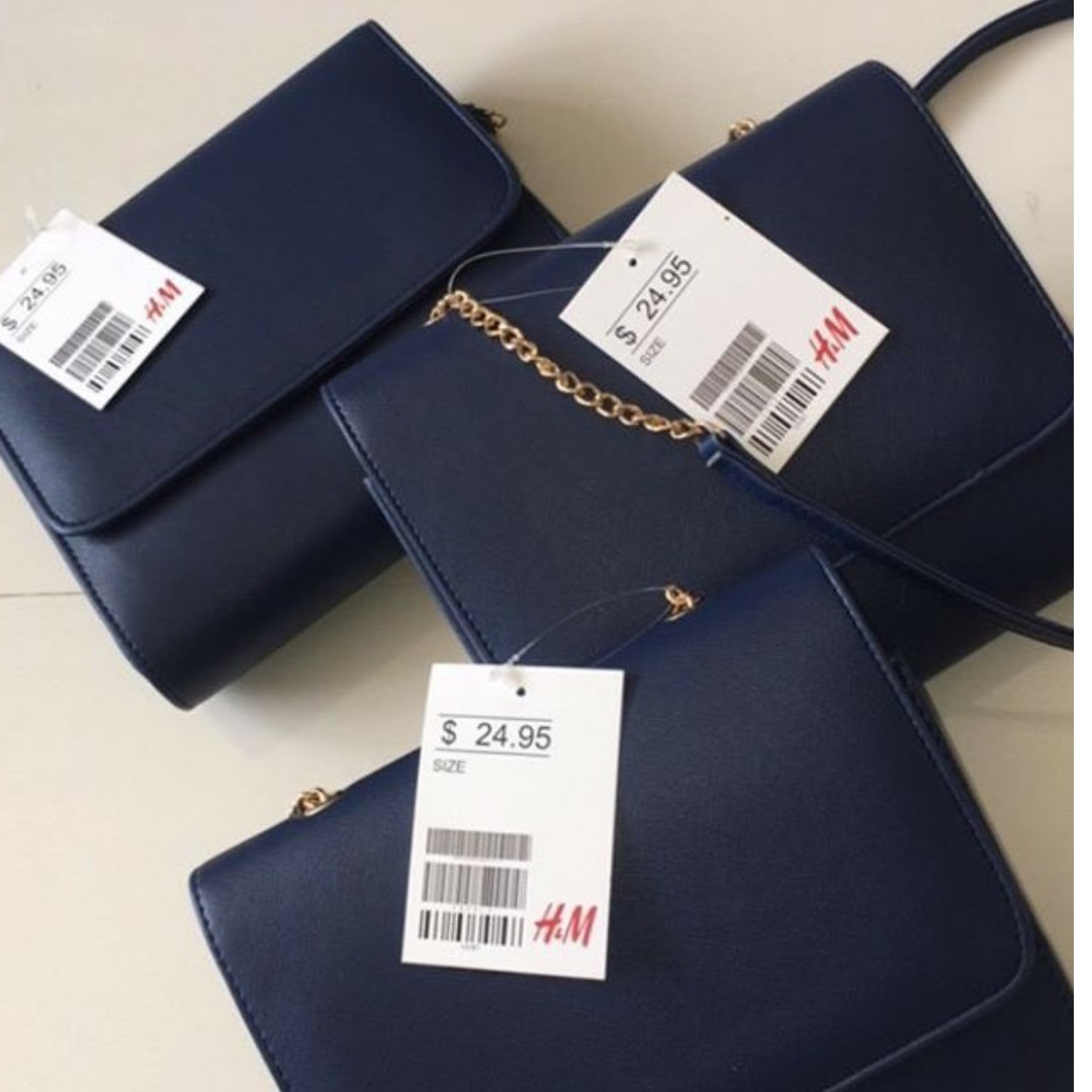 h&m mini clutch navy