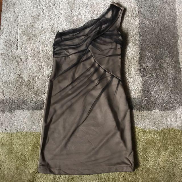 Khaki one shoulder dress with black tulle
