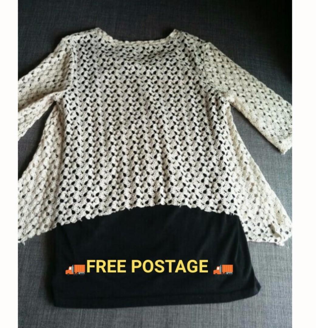 Lace black & white blouse