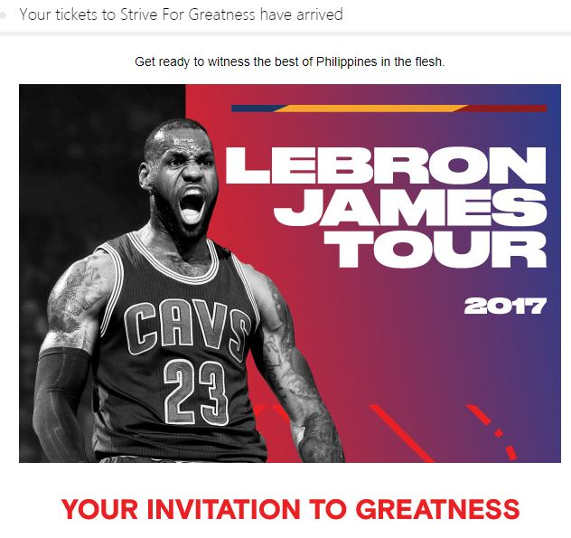 Lebron James Strive for Greatness tour ticket. (2 tickets)