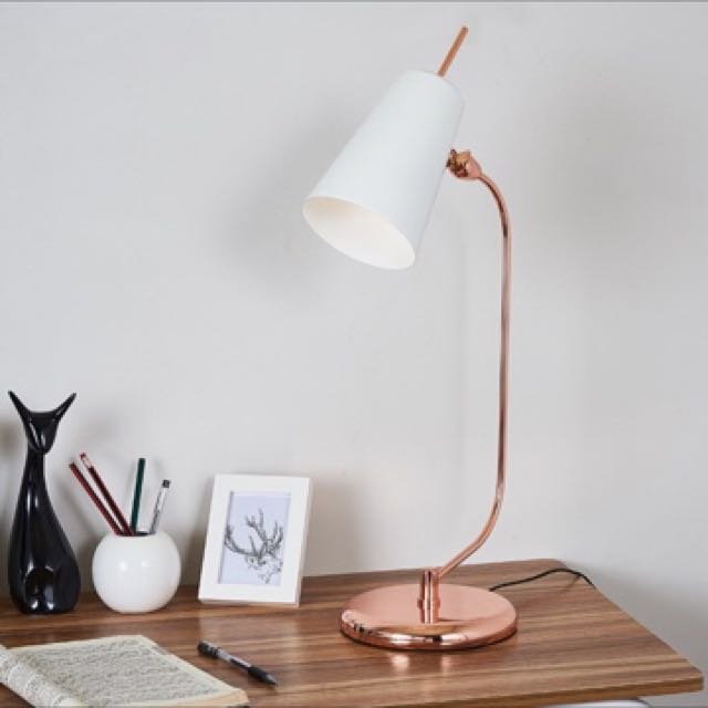 Luxe Rose Gold Natural Marble Desk Study Office Table Lamp