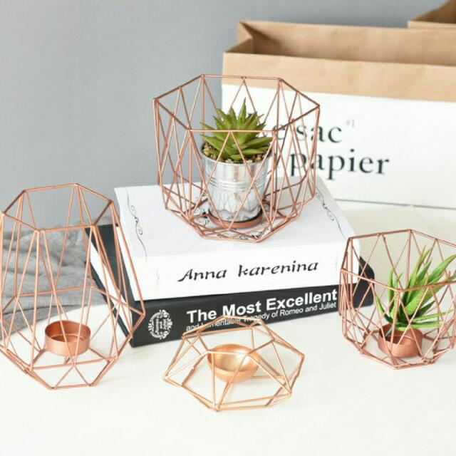 16 Rose Gold And Copper Details For Stylish Interior Decor: NEW Geometric Terrarium Style Hurricane Candle Holder