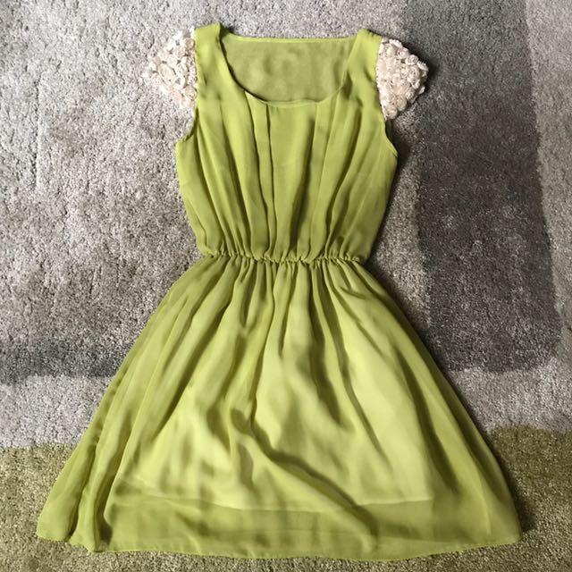 Olive green sheer dress