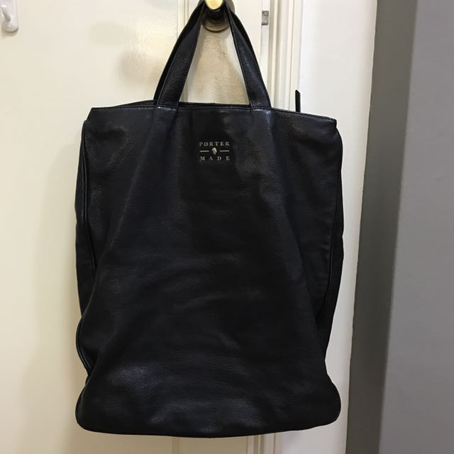 Porter International Black Leather Tote Bag a9068348804b4