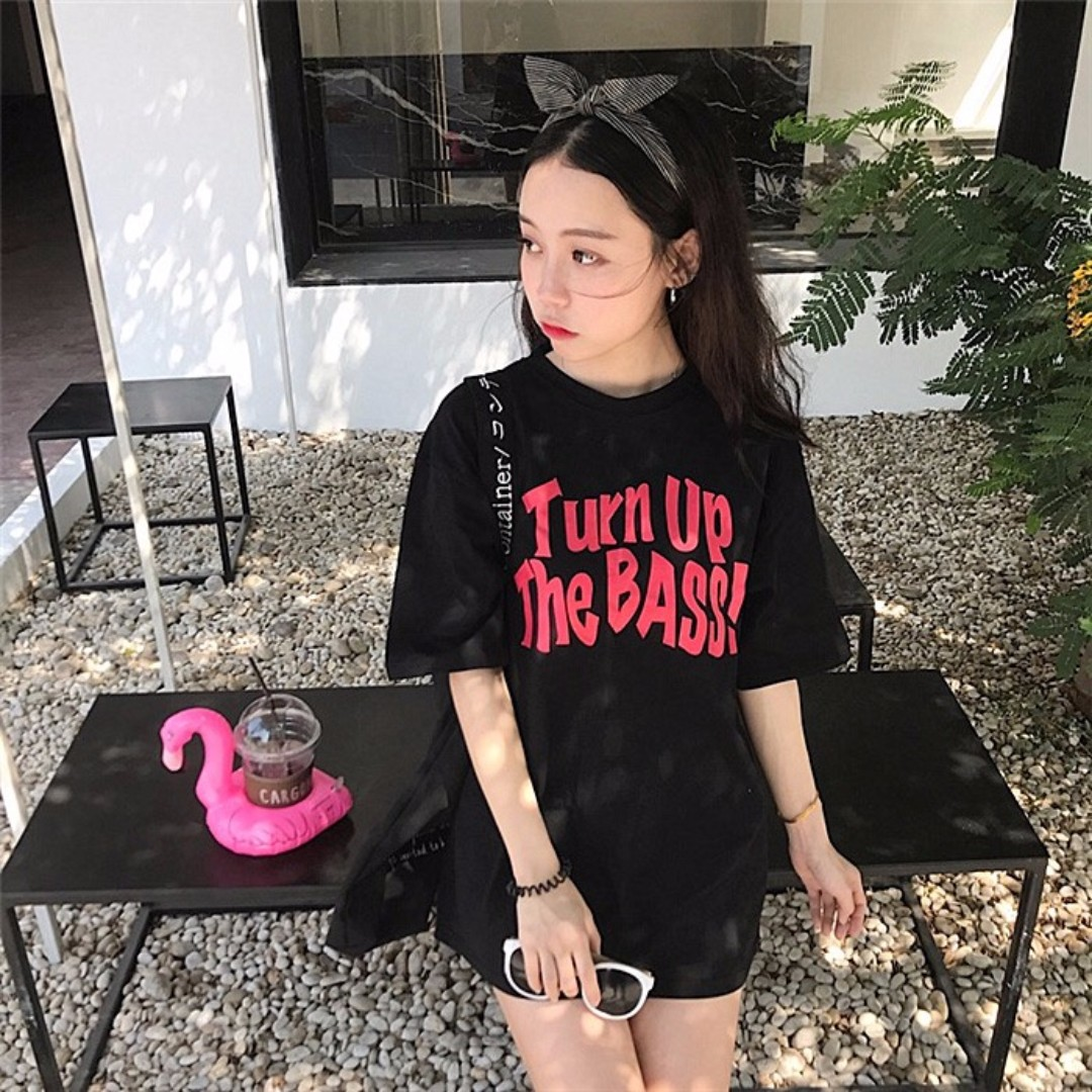 "💥READYSTOCK💥 Brand New Black Tshirt with ""Turn Up The BASS!"" Wording"