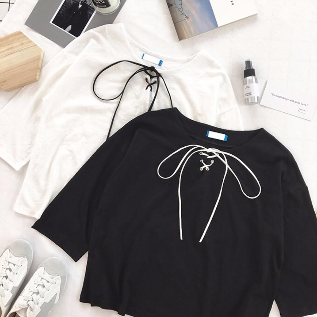💥READYSTOCK💥Brand New 3/4 Sleeve Front Drawstring Tshirt