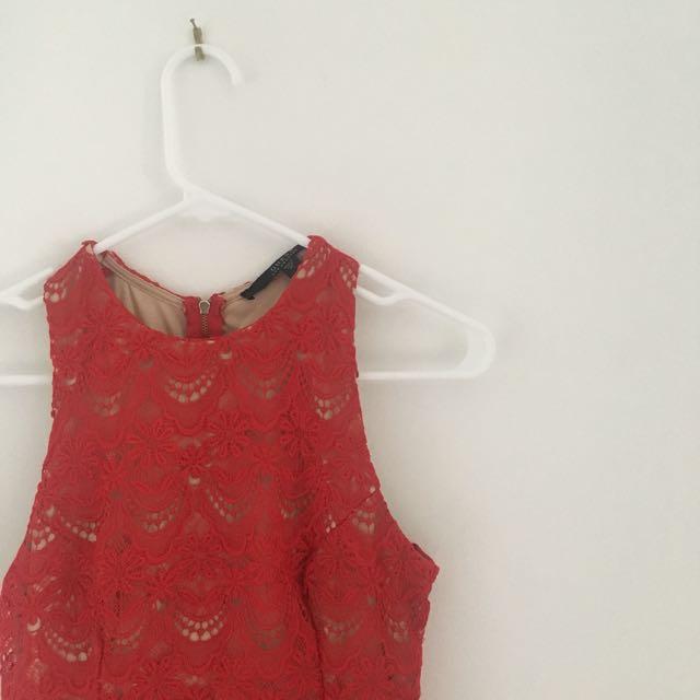Red Lace Peplum Dress