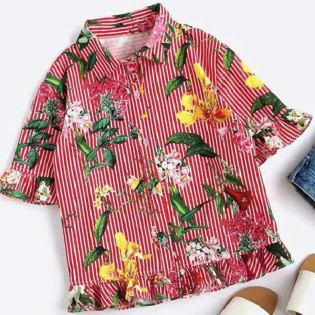 Red Stripe Blouse w/ Florals