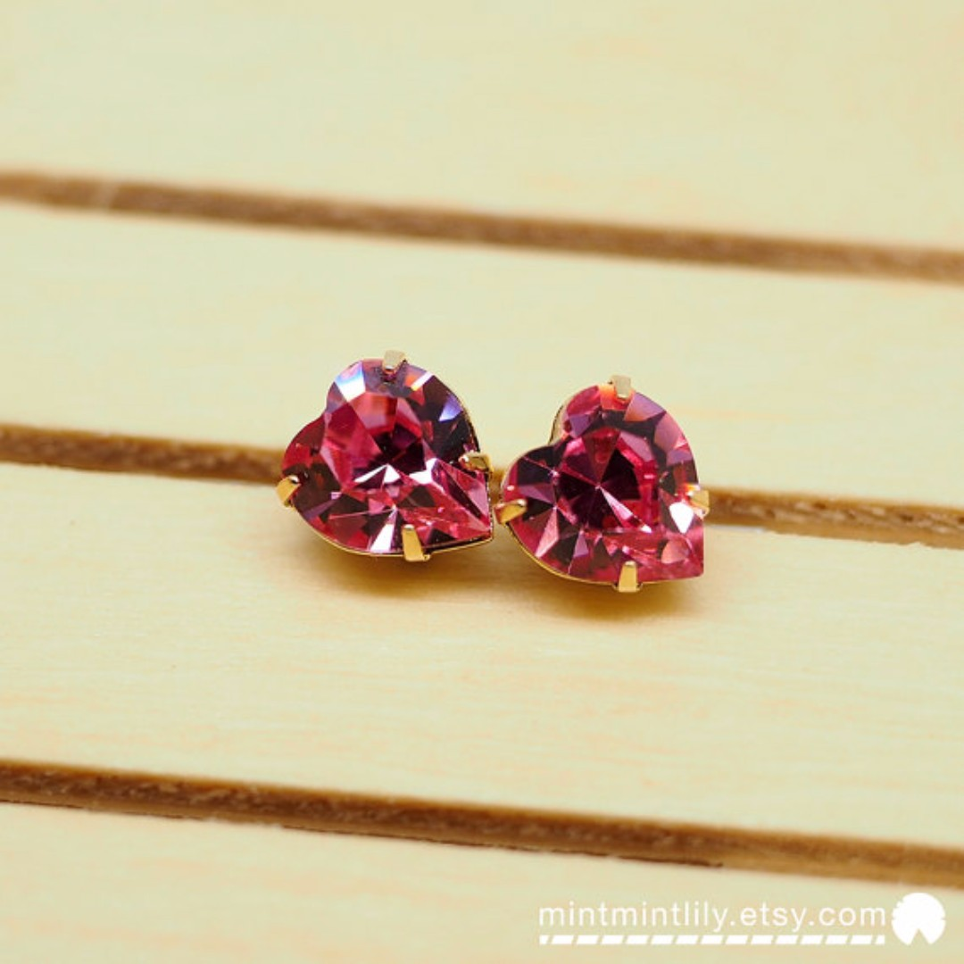 615e067e5 Rose Pink Swarovski® Crystal Heart Gold Earrings \\ Heart Shape Stud \\ Gold  Plated 925 Sterling Silver, Women's Fashion, Jewellery on Carousell