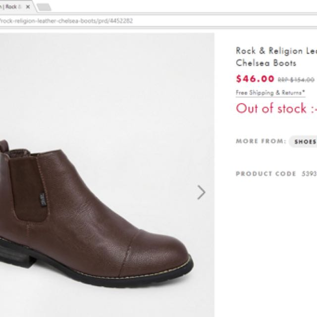 RRP $154 Rock & Religion Brown Hendrix Ankle Chelsea Boots