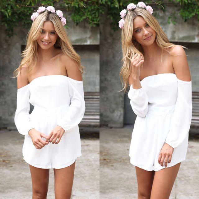 Size XS   Sabo Skirt White Off Shoulder Playsuit