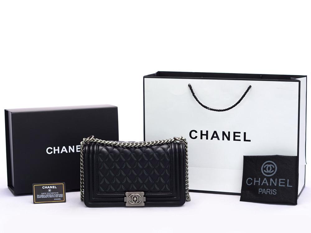 Tas Chanel Boy Classic Medium HITAM Semi Premium AL8619 8b66228d01
