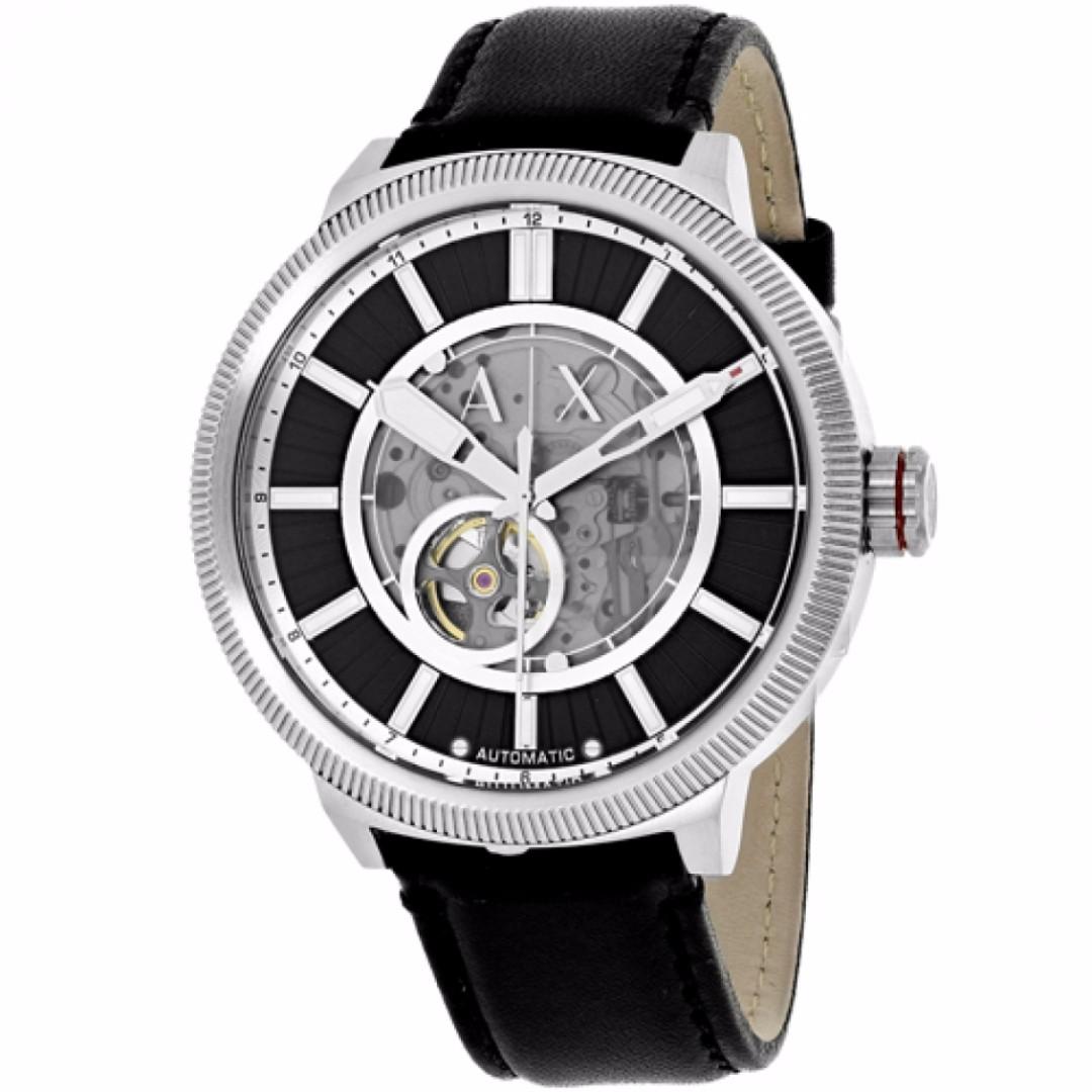【吉米.tw】全新正品 Armani Exchange 亞曼尼男士黑色皮革腕錶 休閒錶 男錶女錶 AX1418 0825