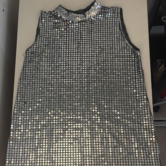 Vintage Mock-neck Silver Sequinned Dress