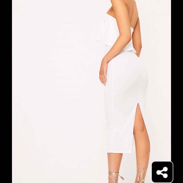 White Strapless Midi Body on Dress